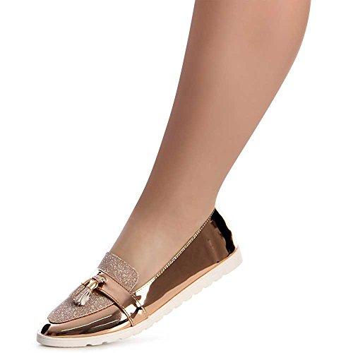 Ballerines Femmes Or Rose Glossy Chaussures Topschuhe24 753 Uw5qgxt