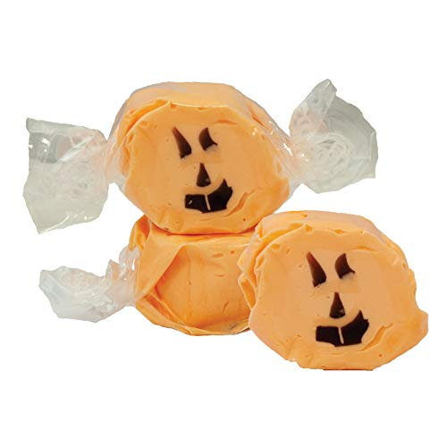 5 LB. Halloween Faces (Orange with Black Face) Salt Water Taffy - Gourmet Taffy by Taffy Town -