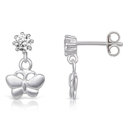 (Sterling Silver & CZ Stud w Dangling Butterfly Rhodium Plated Small Stud Earrings )