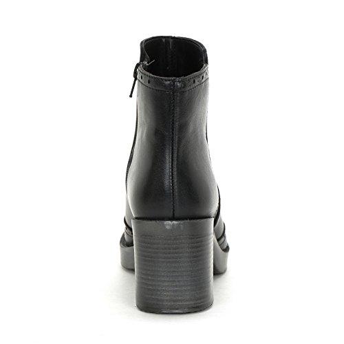 Cola Tacones Botines By Alesya Con Y De Altos amp;scarpe Ancho Golondrina Negro Tacón Scarpe Piel 7 Cm xqYwgwnFO