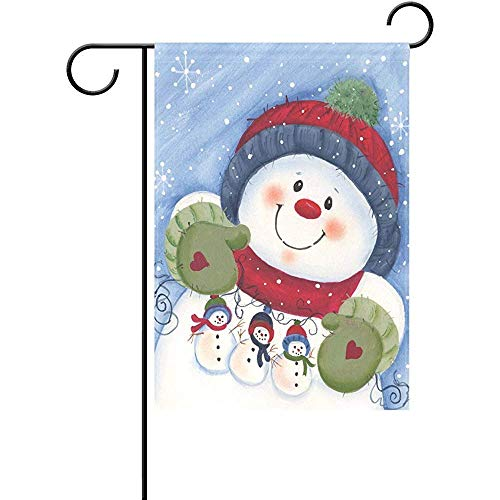 Eaiferly Cute Snowman Friends Garden Flag Double-Sized Print Decorative Holiday Home Flag, 12 x 18 inches