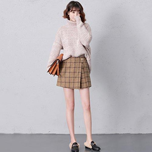 LINSYT Falda a cuadros de cintura alta elegante de cuadros ...