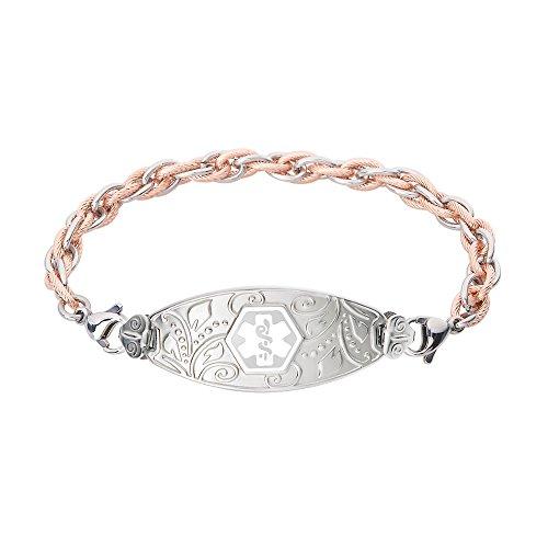 (Divoti Custom Engraved Medical Alert Bracelets for Women, Stainless Steel Medical Bracelet, Medical ID Bracelet w/Free Engraving - Lovely Filigree Tag w/Inter-Mesh Rose Gold/Silver -White-6.0