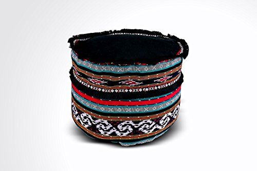Round Ikat Pouf Ottoman, Black, Red, Green. Ethnic, Boho Pouf, Floor Cushion. Handwoven in Indonesia. 20''W x 12.5''H by Kasih Coop