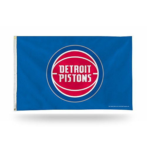 Detroit Pistons 3-Foot by 5-Foot Single Sided Banner Flag with Grommets (Detroit Pistons Logo Wall Graphic)