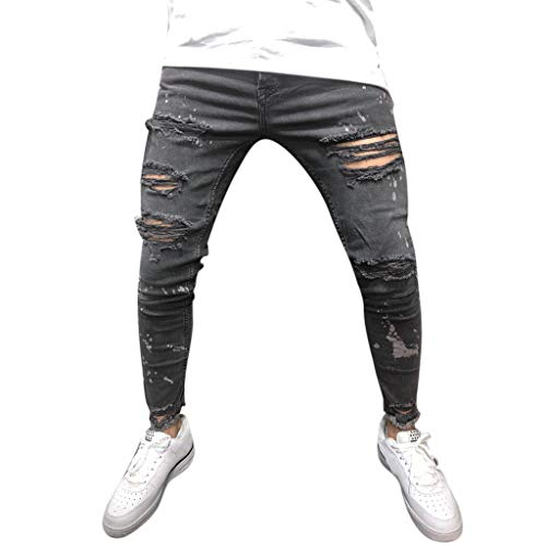 Duck Dungaree Washed Lined Flannel (NUWFOR Men's Printed Denim Cotton Vintage Wash Hip Hop Work Trousers Jeans Pants(Black,US:32/AS:M Waist:32.3