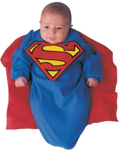 DC Comics Superman Baby Bunting Costume Superman Print, 0-9 Months (2 Month Baby Halloween Costume)