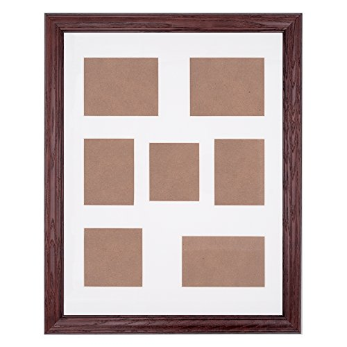 NEW 7-Opening 14x18 Collage Picture Frame - Dark Cherry Ash Hardwood w/Mat for Family & Friends Photos, 1-1/4 Inch Thick Molding - Hand Made in USA by Northern (Cherry Wood Moldings)