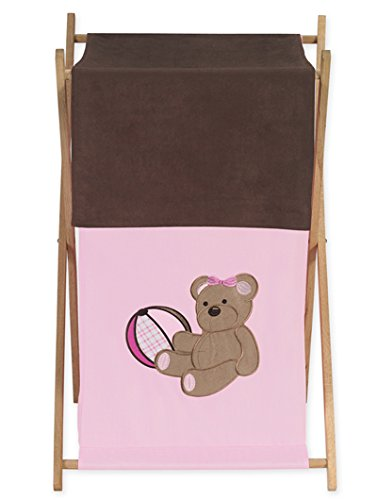 Sweet Jojo Designs Baby and Kids Clothes Laundry Hamper for for Pink and Chocolate Teddy Bear Bedding
