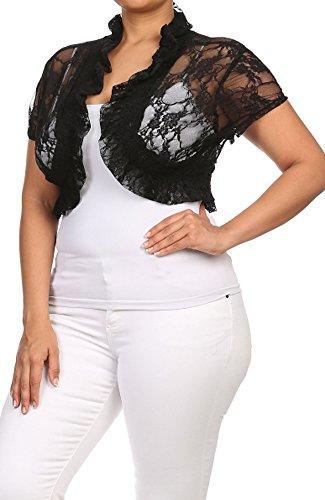 Junior Plus Size Smocked Short Sleeve All Lace Cropped Shrug (1X, Midnight Black)