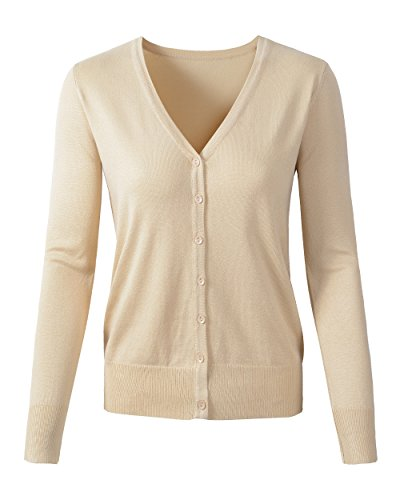 Womens V Neck Button Down Long Sleeve Basic Soft Knit Cardigan Sweater (US Large/Tag 2XL, 135Khaki) by Benibos (Image #7)