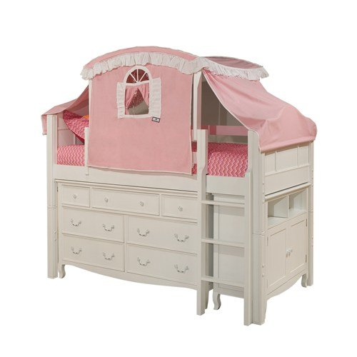 Bolton Furniture 9881500LTS8320PWM Emma Storage Low Loft Bed with Pink/White Top Tent, Ladder, 7 Drawer Dresser and Media (Tent For Youth Bed)