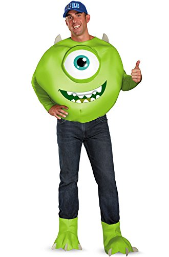 Disguise Men's Disney Pixar Monsters University Mike Deluxe Costume, Green/White/Blue, XX-Large/50-52