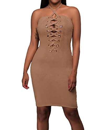Brown Halter Dress - 6