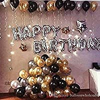 TRISHRA Happy Birthday Letter Foil Balloon Set of (Silver)+HD Metallic Balloons (Black, Gold and Silver) Pack of 50.