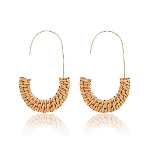 (MOLOCH Acrylic Earrings Statement Tortoise Hoop Earrings Resin Wire Drop Dangle Earrings Fashion Jewelry for Women (Rattan Hoop) )