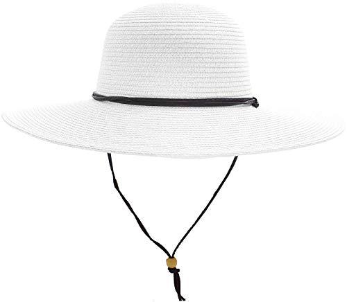 - Women's UPF 50+ Wide Brim Braided Straw Sun Hat with Lanyard White