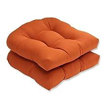 Pillow Perfect Indoor/Outdoor Cinnabar Wicker Seat Cushion, Burnt Orange, Set of 2