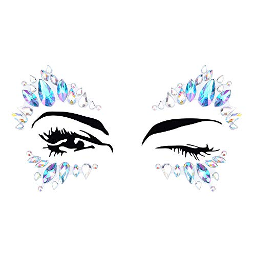 Inverlee 1 Sheet Facial Gems Adhesive Glitter Jewel Tattoos Stickers Wedding Festival Party Body Makeup (C5)