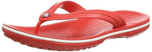 - crocs Unisex Crocband Flip Flop,  Flame/White, 7 US Men / 9 US Women