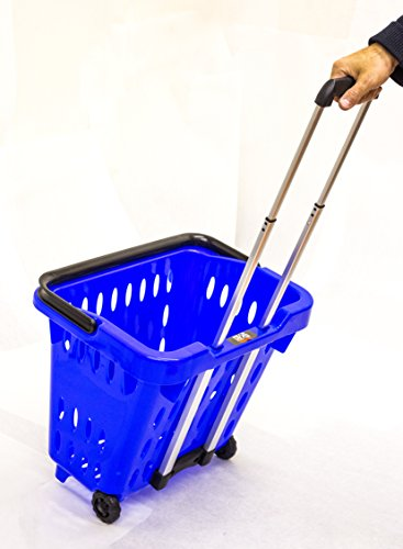 GoCart, Blue Grocery Shopping Basket Rolling Laundry Cart