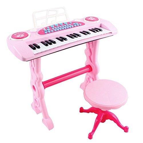 deAO Teclado Electronico Infantil - Piano Karaoke 37 Teclas con Microfono, Taburete, Variedad de Sonidos, Rítmos y Melodias (ROSA): Amazon.es: Juguetes y ...