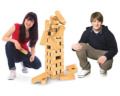Cardinal Jumbling Tower Board Game | Friendly Competition with 51 Wood Pieces | Large