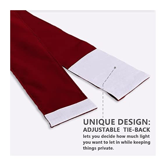 """NICETOWN Blackout Draperies Curtains for Doors - Functional Thermal Insulated Sidelight Blackout Door Panel Curtains Christmas Holiday Decor, 25x72 - Burgundy(2 Panels) - PRODUCT INFO.: Package comes with 2 panels of door curtains. Each panel measuring 25 inches wide by 72 inches long comes with matching adjustable TIEBACK. 2 rod pockets(diameter: 1"""" each)on the both top and bottom sides give the curtains a nice fit. NICE FUNCTION: Made of triple weave blackout material, these blackout door curtains can block 85%-142% harmful lights and UV rays out. By a special weaving way, the curtain prevents hot air in summer and cold wind in winter from entering the room. STYLISH&PRIVACY: Designed for glass / glazed doors. Pure color are suitable the most home decoration styles. Adjustable tie backs can flexible control the light enter into the room, you can tie up for decorating room or full shade for keeping privacy. - living-room-soft-furnishings, living-room, draperies-curtains-shades - 41vGVLPDN1L. SS570  -"""