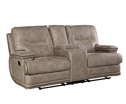 Mckinley Taupe Color Fabric C-Style Arm Power Motion Loveseat by FurnitureMaxx