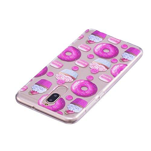 Funda para Huawei Mate 10 Lite , IJIA Transparente Donuts TPU Silicona Suave Cover Tapa Caso Parachoques Carcasa Cubierta para Huawei Mate 10 Lite (5.9)