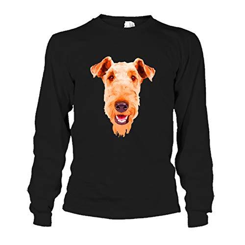 Mens Terrier Airedale Hoodie (Airedale Terrier Face Tee Shirt, Cool Sweatshirt, Hoodie, Long Sleeve (L,Black))