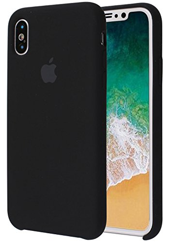 Soft Liquid Silicone iPhone X Cover Case inner Soft Microfiber Cloth Lining Cushion for Apple iPhone X/10 5.8inch (Black)