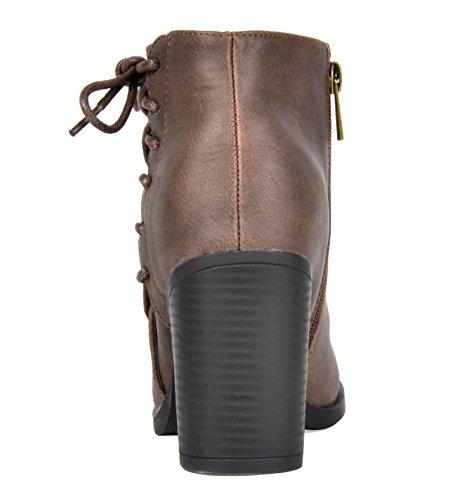 TOETOS Damen Chicago Chunky Heel Ankle Booties Braun-1