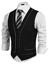 Coofandy Skinny V-Neck Slim Fit Dress Vest Waistcoat for Suit or Tuxedo