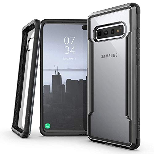 (X-Doria Defense Shield Series, Samsung Galaxy S10 Phone Case - Military Grade Drop Tested, Anodized Aluminum, TPU, and Polycarbonate Protective Case for Samsung Galaxy S10, (Black) )