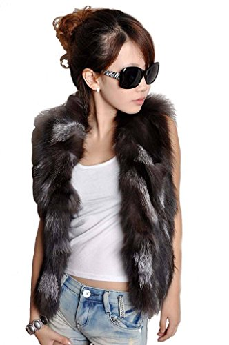 YR Lover Women's Warm Slim Fit Real Silver Fox Fur Vest Silver