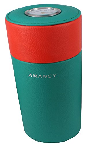 AMANCY Fabulous Leather Cedar Wood Lined Portable Travel 5 Cigar Humidor with Humidifier -
