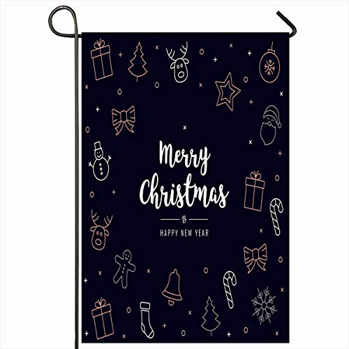 - Ahawoso Outdoor Garden Flag 12x18 Inches Line Greeting Blue Bell Christmas Rose Gold Holidays Black Sock Bow Candy Gingerbread Golden Happy Holly Berry Design Seasonal Double Sides House Yard Sign