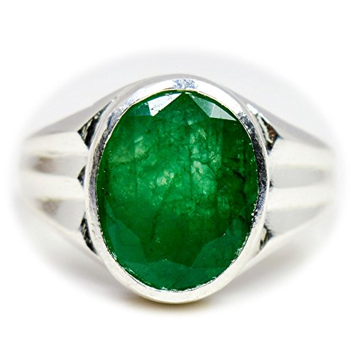 55Carat Genuine Emerald Silver Ring For Men 7 Carat Oval Shape Birthstone Size 5,6,7,8,9,10,11,12,13 - 10 Oval Mens Ring Setting
