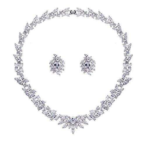 Aooaz Bijoux Femmes Alliage Bijoux Parures Magnifique Fleur Cristal Mariage Unique Femmes Collier Boucle d'oreille Parures Blanc