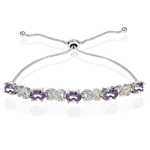 Ice Gems Sterling Silver Genuine Amethyst Infinity Adjustable Bracelet