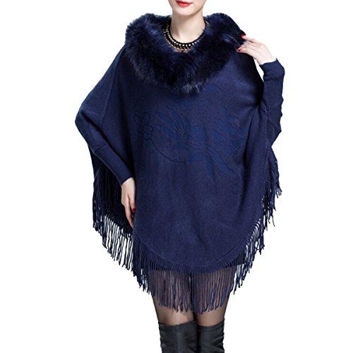 Win8Fong - Abrigo - capa - para mujer azul marino