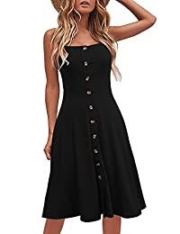 Berydress Women's Casual Beach Summer Dresses Solid Cotton Flattering A-Line Spaghetti Strap Button Down Midi Sundress