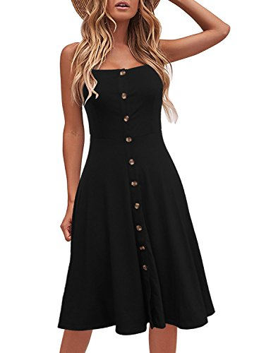 (Berydress Women's Summer Spaghetti Strap Solid Stretchy Cotton Button Down Flattering A-Line Black Midi Dress (S, 6046-Black) )