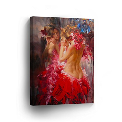 Cheap Xmas Fancy Dress Costumes (Woman in Red Dancing Costume Dressing Up Half Naked Sexy Nude Oil Painting CANVAS PRINT Decorative Art Wall Home Decor Artwork / Gallery Wrapped Stretched /Ready to Hang -%100 Handmade in the USA)