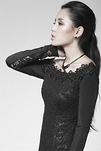 en Kleid Gothic Kleid Frauen 7 Word R¨¹cken Hollow Lacework Gr Langarm Kragen Punk 47B6qYw4