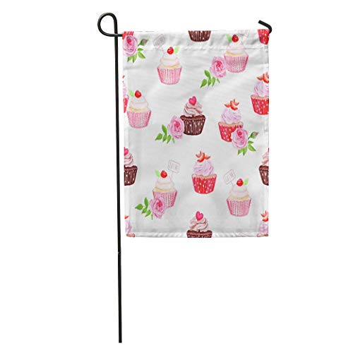 Andrea Back Garden Flag Colorful Assortment Chocolate and Strawberry Cupcakes Pink Bakery Beautiful Berry Home Yard House Decor Barnner Outdoor Stand 12x18 Inches Flag
