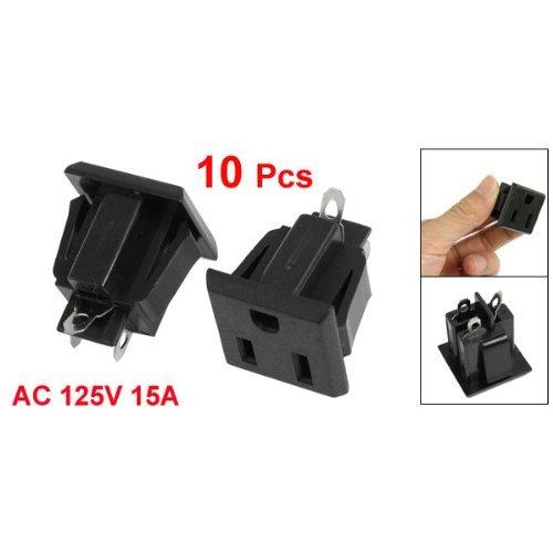 FIOTOK 10 Pcs US 3 Pins Power Socket Plug Black AC 125V 15A