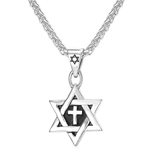 U7 Men Enamel Cross Star of David Pendant with Steel Chain Titanium Necklace Religious Jewish Jewelry