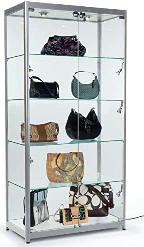 Displays2go Tempered Glass Curio Cabinet with 8 Halogen Lights, 78 x 40 x 16.5-Inch, Free-Standing, Locking Hinged Doors, Floor Levelers and 4 Green Edge Glass Shelves – Silver, Aluminum